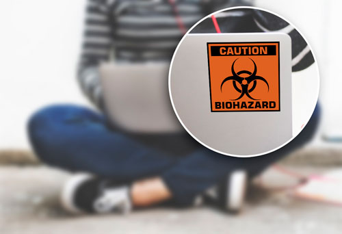 Caution Biohazard Sign Symbol Layered Vinyl Sticker / Decal Black & Orange Color