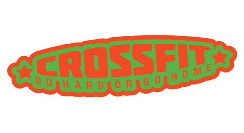 Crossfit Go Hard or Go Home Cross Fit Workout Layered Vinyl Sticker / Decal Orange & Green Color