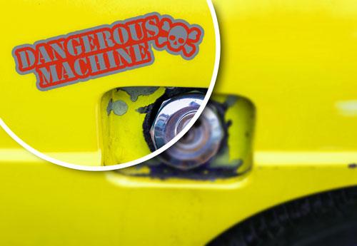 Dangerous Machine Crossbones Skull Layered Vinyl Sticker / Decal Red & Grey Color