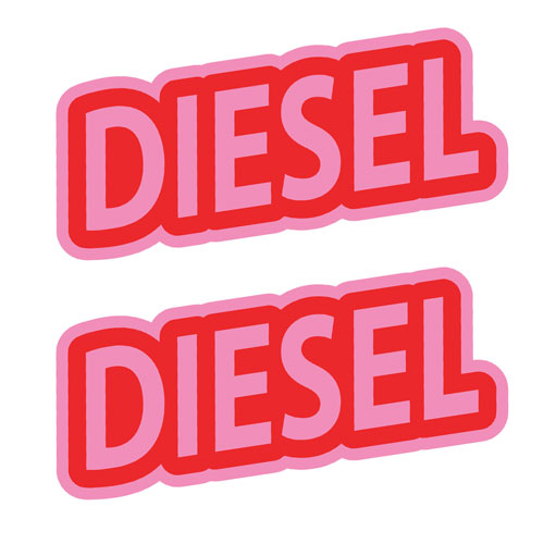 2x Diesel Fuel Only Layered Vinyl Stickers / Decals Red & Pink Color