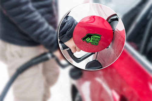 Diesel Fuel Only Warning Sign Reminder Gas Cap Cover Marker Layered Vinyl Sticker / Decal Green & Black Color