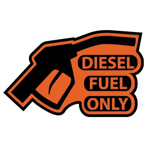 Diesel Fuel Only Warning Sign Reminder Gas Cap Cover Marker Layered Vinyl Sticker / Decal Orange & Black Color