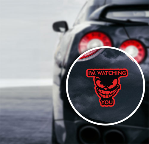 I'm Watching You Angry Face Layered Vinyl Sticker / Decal Red & Black Color