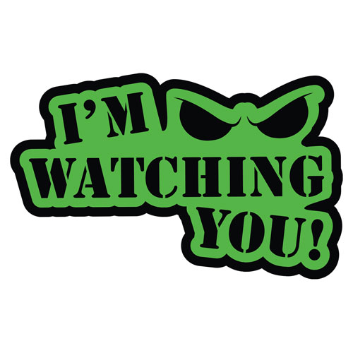 I'm Watching You Angry Eyes Layered Vinyl Sticker / Decal Green & Black Color
