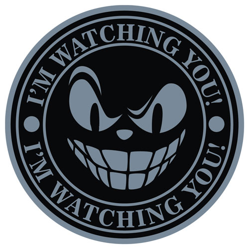 I'm Watching You Angry Face Round Shape Layered Vinyl Sticker / Decal Grey & Black Color