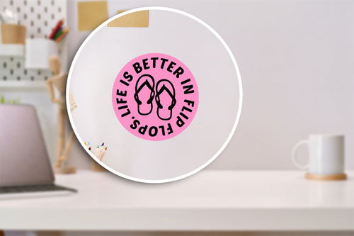 Life Is Better In Flip Flops Layered Vinyl Sticker / Decal Round Shape Pink & Black Color