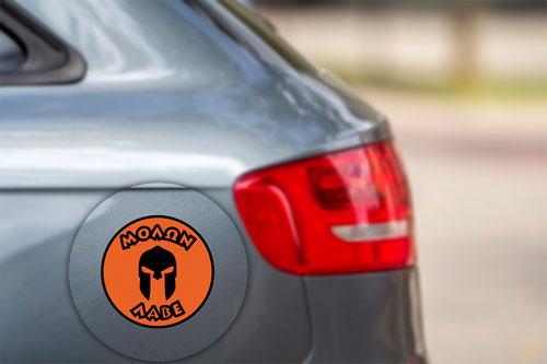 Molon Labe Come And Take Them Spartan Warrior Helmet Layered Vinyl Sticker / Decal Round Shape Orange & Black Color