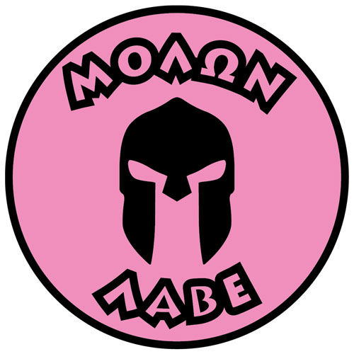 Molon Labe Come And Take Them Spartan Warrior Helmet Layered Vinyl Sticker / Decal Round Shape Pink & Black Color