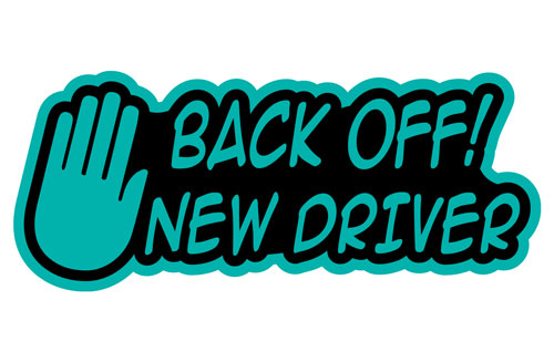 Back Off! New Driver Hand Icon Layered Vinyl Sticker / Decal Turquoise & Black Color