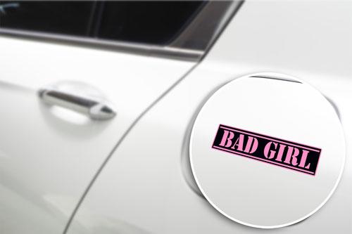 Bad Girl Layered Vinyl Sticker / Decal Pink & Black Color