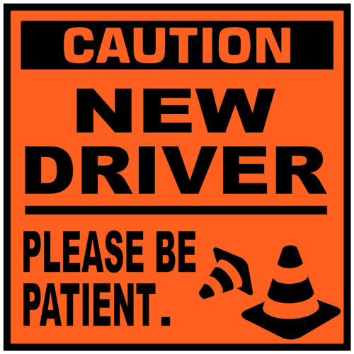 Caution New Driver Please Be Patient Warning Sign Cones Vinyl Sticker / Decal Orange & Black Color