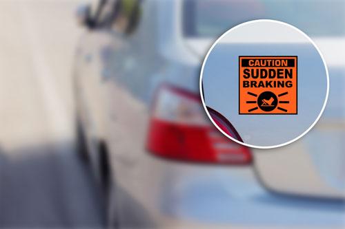 Caution Sudden Braking Warning Sign Vinyl Sticker / Decal Orange & Black Color