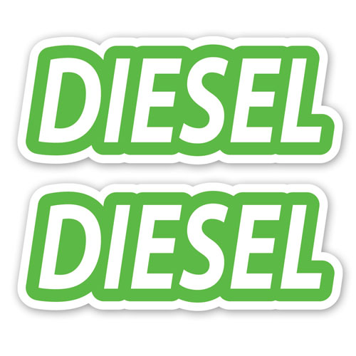 2x Diesel Fuel Only Layered Vinyl Stickers / Decals Green & White Color