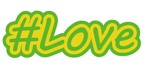 Hashtag Love #Love Layered Vinyl Sticker / Decal Green & Yellow Color