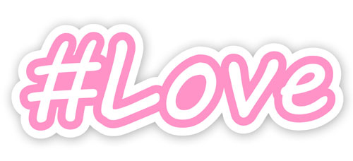 Hashtag Love #Love Layered Vinyl Sticker / Decal Pink & White Color