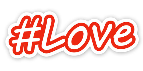 Hashtag Love #Love Layered Vinyl Sticker / Decal Red & White Color