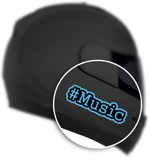 Hashtag #Music Layered Vinyl Sticker / Decal Blue & Black Color