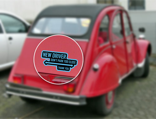 New Driver Don't Park Too Close Thank You Layered Vinyl Sticker / Decal Blue & Black Color