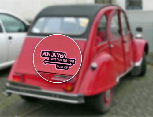 New Driver Don't Park Too Close Thank You Layered Vinyl Sticker / Decal Pink & Black Color