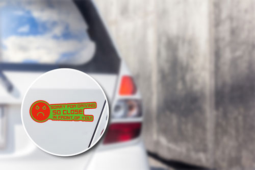 Sorry For Driving So Close In Front Of You Layered Vinyl Sticker / Decal Red & Green Color