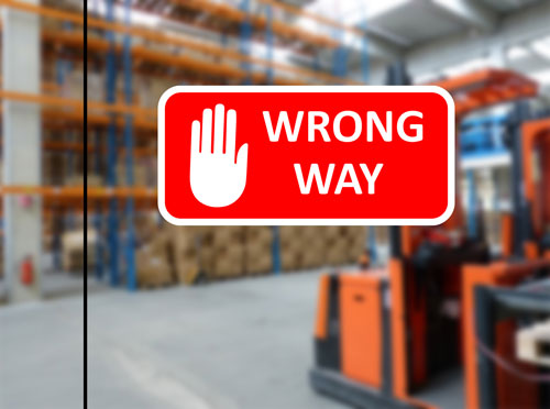 Wrong Way Warning Sign Hand Icon Layered Vinyl Sticker / Decal Red & White Color