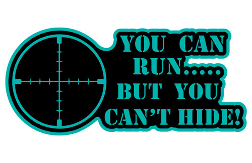 You Can Run But You Can't Hide Layered Vinyl Sticker / Decal Turquoise & Black Color