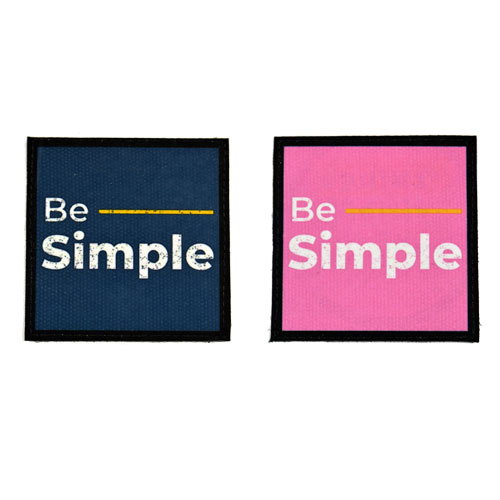 (2x) Be Simple Flock Printed Fabric Loop And Hook Patches Square Shape