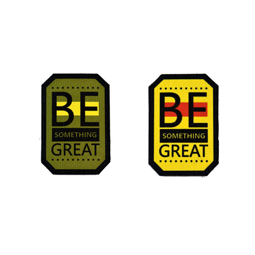 (2x) Be Something Great Quote Flock Printed Fabric Loop And Hook Patches Polygon Shape