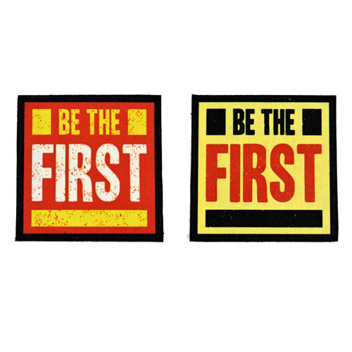 (2x) Be The First Flock Printed Fabric Loop And Hook Patches Square Shape