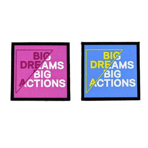 (2x) Big Dreams Big Actions Quote Flock Printed Fabric Loop And Hook Patches Square Shape