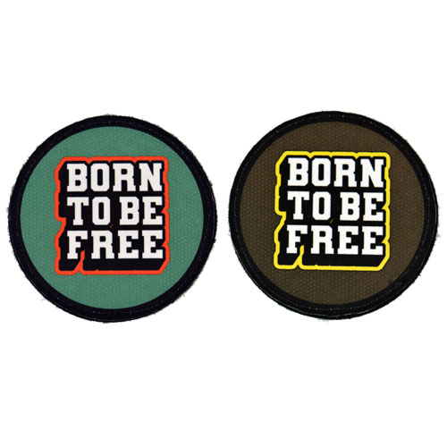 (2x) Born to Be Free Quote Flock Printed Fabric Loop And Hook Patches Round Shape