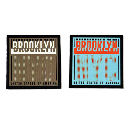 (2x) Brooklyn NYC United States Of America Flock Printed Fabric Loop And Hook Patches Square Shape