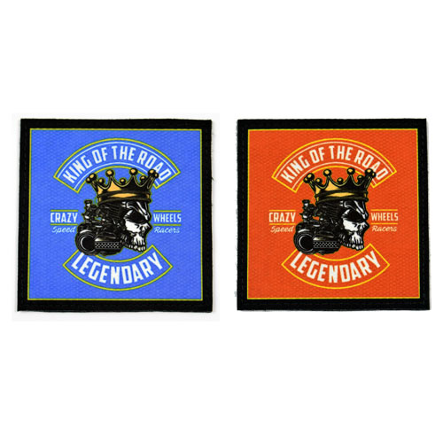(2x) King Of The Road Legendary Crazy Wheels Speed Racers Skull With Crown Flock Printed Fabric Loop And Hook Patches Square Shape