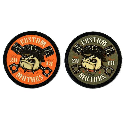 (2x) Custom Motors Ride Hard Bulldog With Helmet Pistons Flock Printed Fabric Loop And Hook Patches Round Shape