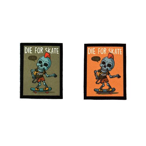 (2x) Die For Skate Punk Skeleton Skull Skater Skateboarding Flock Printed Fabric Loop And Hook Patches Rectangular Shape