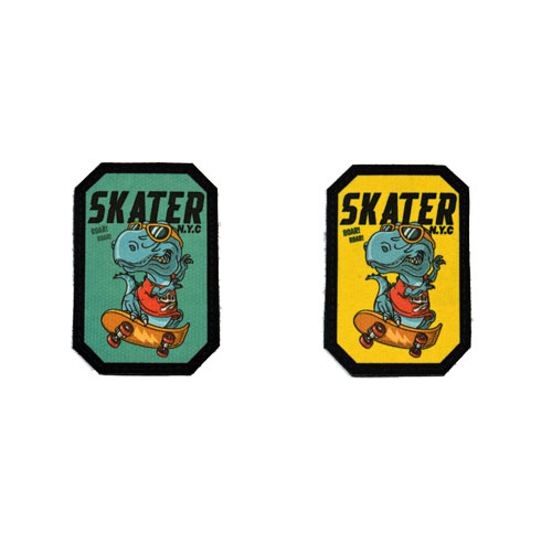 (2x) Dinosaur Skating Cool Dino Skater N.Y.C. New York City Flock Printed Fabric Loop And Hook Patches Polygon Shape