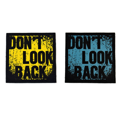 (2x) Don't Look Back Quote Flock Printed Fabric Loop And Hook Patches Square Shape