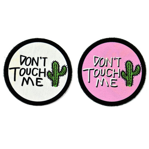 (2x) Don't Touch Me Cactus Flock Printed Fabric Loop And Hook Patches Round Shape