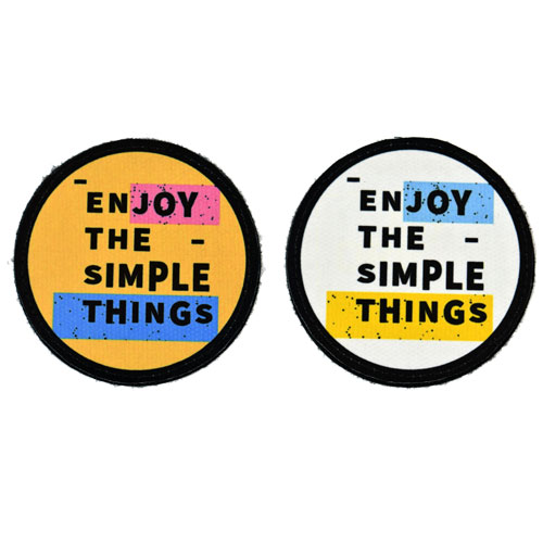 (2x) Enjoy The Simple Things Quote Flock Printed Fabric Loop And Hook Patches Round Shape