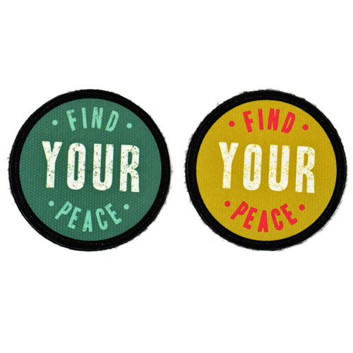 (2x) Find Your Peace Quote Flock Printed Fabric Loop And Hook Patches Round Shape