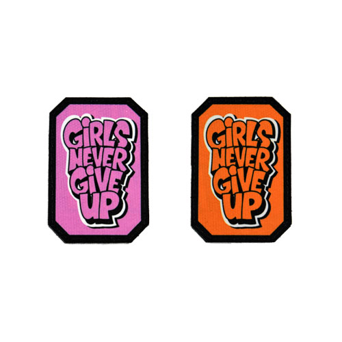 (2x) Girls Never Give Up Quote Flock Printed Fabric Loop And Hook Patches Polygon Shape