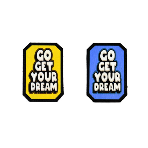 (2x) Go Get Your Dream Quote Flock Printed Fabric Loop And Hook Patches Polygon Shape