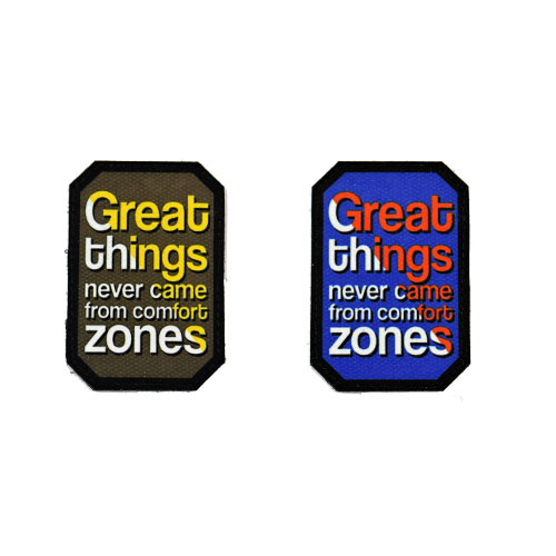 (2x) Great Things Never Came From Comfort Zones Quote Flock Printed Fabric Loop And Hook Patches Polygon Shape