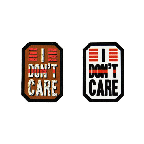 (2x) I Don't Care Quote Flock Printed Fabric Loop And Hook Patches Polygon Shape