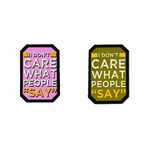 (2x) I Don't Care What People Say Quote Flock Printed Fabric Loop And Hook Patches Polygon Shape