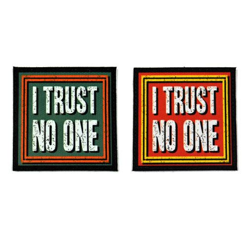 (2x) I Trust No One Quote Flock Printed Fabric Loop And Hook Patches Square Shape