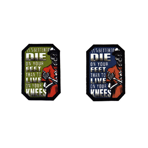 (2x) It's Better To Die On Your Feet Than To Live On Your Knees Quote Flock Printed Fabric Loop And Hook Patches Polygon Shape