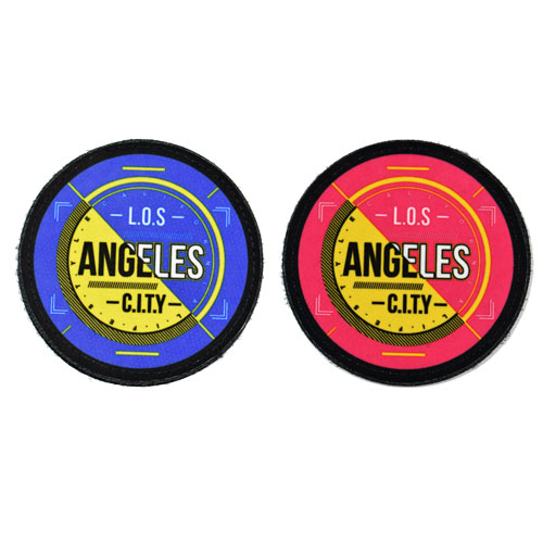 (2x) Los Angeles City Flock Printed Fabric Loop And Hook Patches Round Shape