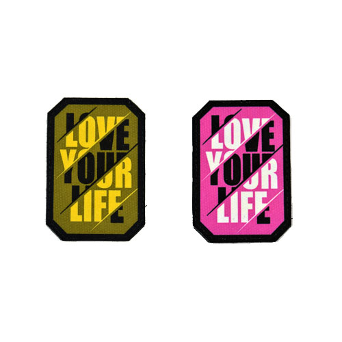 (2x) Love Your Life Quote Flock Printed Fabric Loop And Hook Patches Polygon Shape
