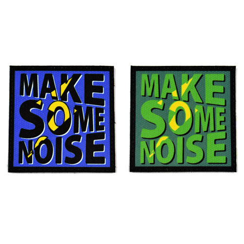 (2x) Make Some Noise Quote Flock Printed Fabric Loop And Hook Patches Square Shape